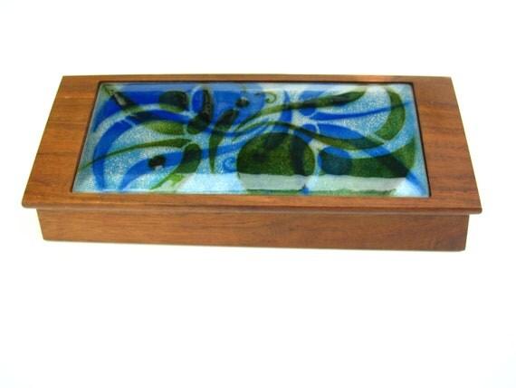 Eames era 50s 60s Vintage Mid Century Danish Modern Anne Marie Davidson Teak Box Enamel Copper