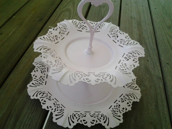 SALE 30% OFF Vintage Tiered Serving Tray Shabby Chic Pink Cupcake Tray Cottage Style Embossed Handle Fluttered Edges