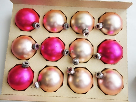 Clearance sale 12 vintage mercury glass pink christmas for Christmas ornament sale clearance
