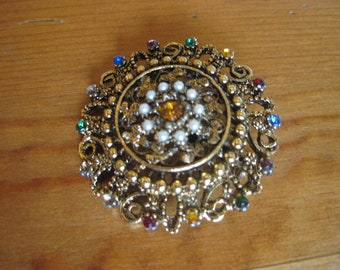 80's Multi Color Brooch in Antique Gold