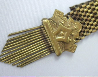 Antique Victorian Gold Mesh Crown Brooch Pin
