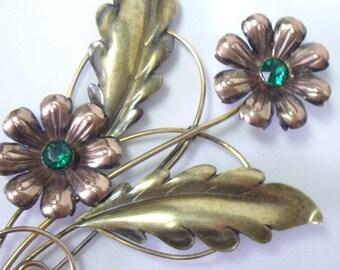 Huge Vintage Van Dell Gold Fill over Sterling Flower Brooch Pin