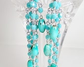 "Blue Opaque Fire Polish Turquoise - Genuine Stone Blue Turquoise - Sterling Silver Fish hook- 4"" long Earrings"