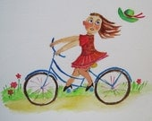 Bike and Red Dress, Happy,  original painting, kids art, original illustration , by Mariankko.