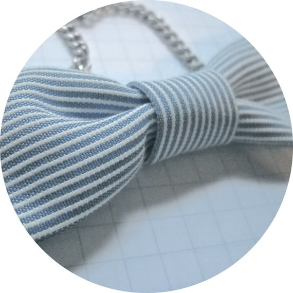 Blue/White Striped Bow Tie Necklace