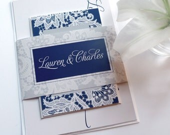 Wedding Invitations with a Lace Pattern (Sample Set)