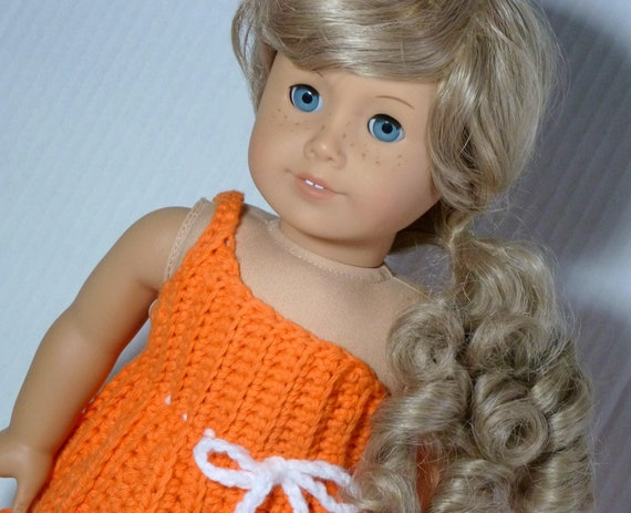 American Girl Doll - One Shoulder Orange / White Crochet Dress Set with Sandals - Ready to Ship