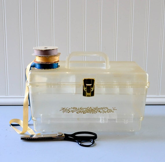 Vintage Sewing Storage Box - Clear Plastic and Gold Supplies Organzier