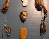 Tribal - Turquoise and Gold along Dotted Feathers, Dangle Earrings