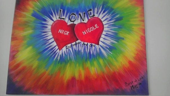 tie dye hand painted canvas
