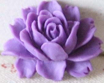 6 pcs of resin smaller size big rose cabochon-23x18x9mmRC0026-34-amethyst