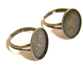 12 pcs of brass ring blank-for 13x18mm cameo-M4011-Antique bronze