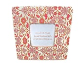 On Sale Floral Picture Frame - Wooden Picture Frame Decoupaged with an Ikat Style Floral Print - 8x8 Frame for a 3.5x3.5 Photo