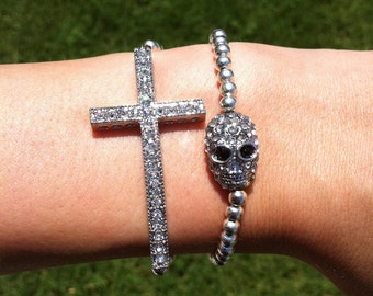 Silver Rhinestone Sideways Cross and Skull Layered Bracelet Set