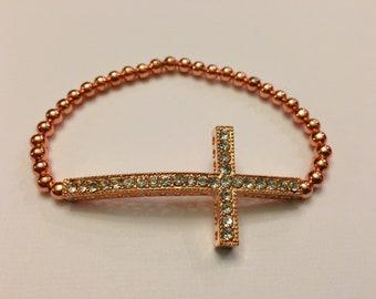 Rose Gold Rhinestone Sideways Cross Bracelet