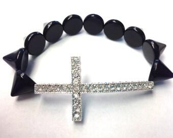 Black Spike Studded Silver Sideways Rhinestone Cross Bracelet