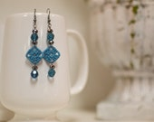 Sm. Ocean Blue Crochet Square & Crystal Earrings