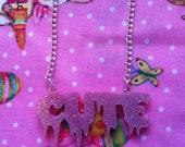 CUTE Spooky Laser Cut Pink Glitter Acrylic Necklace