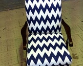 Newly upholstered vintage armchair in funky navy chevron