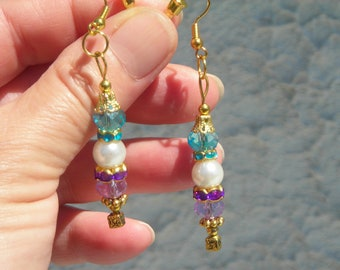 On SALE! Victorian style aqua, lilac Swarovski CRYSTAL beads & fx PEARL earrings.