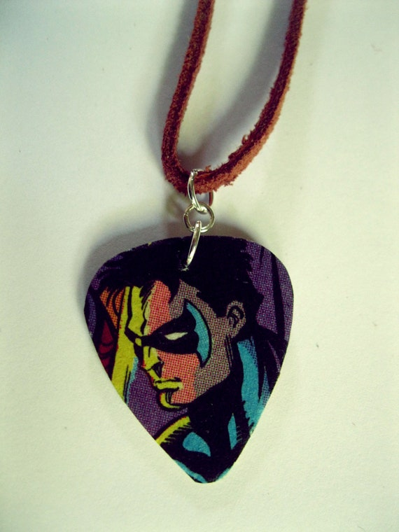 Nightwing-themed Guitar Pick Necklace