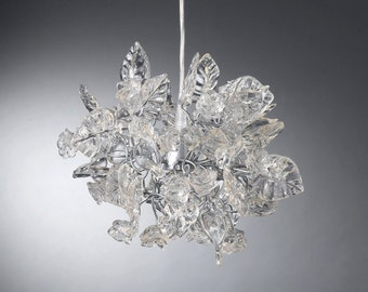 Ceiling Chandelier with Crystal clear flowers and leaves for bathroom, pendant light for bedroom or hall.