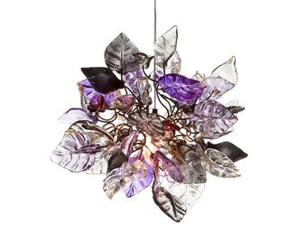 Pendant Light with Purple, gray and crystal clear flowers and leaves for hall or bedroom.