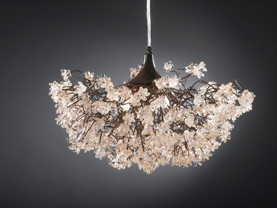 Ceiling lamp with Transparent clear jumping flowers for living room, dinning table.