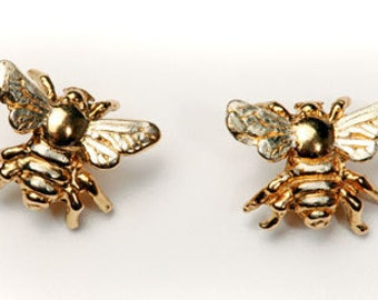 Bee stud earrings in 24carat Gold on Sterling Silver