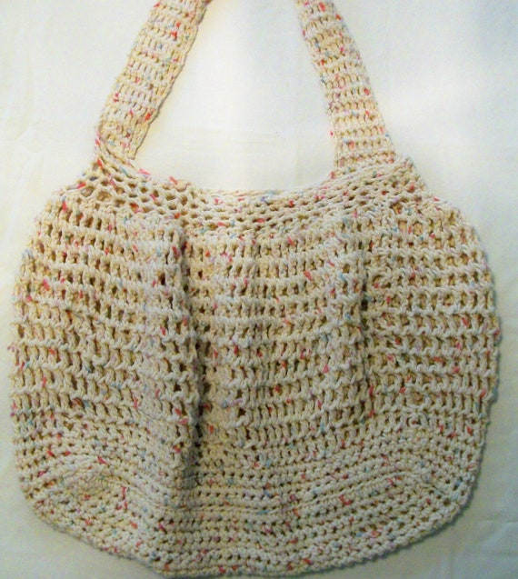 Hobo style - Crochet Bag - reusable grocery or beach bag pink and blue tweed made with 100% washable cotton yarn