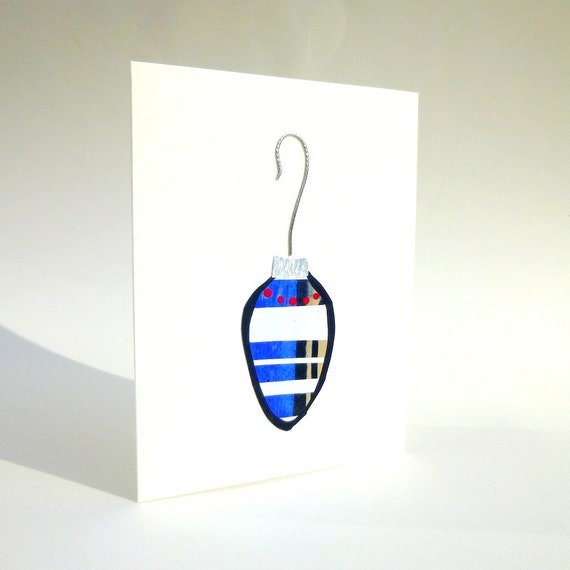 Handpainted Christmas Card with a Vintage Look Ornament in Blue and White with a Silver Cap and Hook