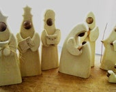 RESERVED FOR MARGARET Handmade Wooden Nativity Set, Vintage from the 80's
