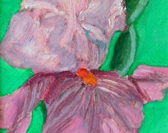 Iris Oil Pastel Painting - Still Life Original Fine Art Painting - Maria Tormena