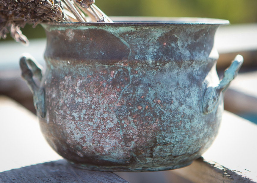 Tarnished Copper Vase With Turquoise Patina And By