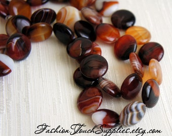 Bead, precious, gemstone, natural, stone, nugget Lace Agate Beads 20mm Smooth Red Marbled Smooth Coins - 6 Pieces