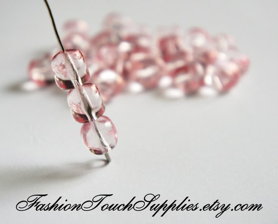 Glass Beads, Bead, Supplies, Czech glass Pink Czech Glass Bead 9mm Bead - 5