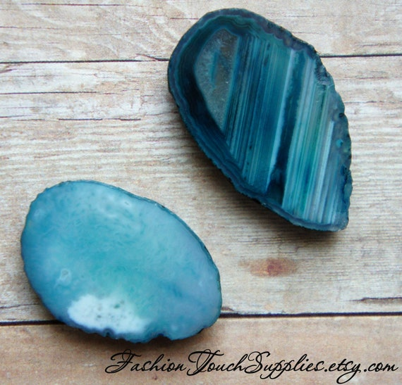 Teal Blue Agate Oval Focal Pendant Beads -2