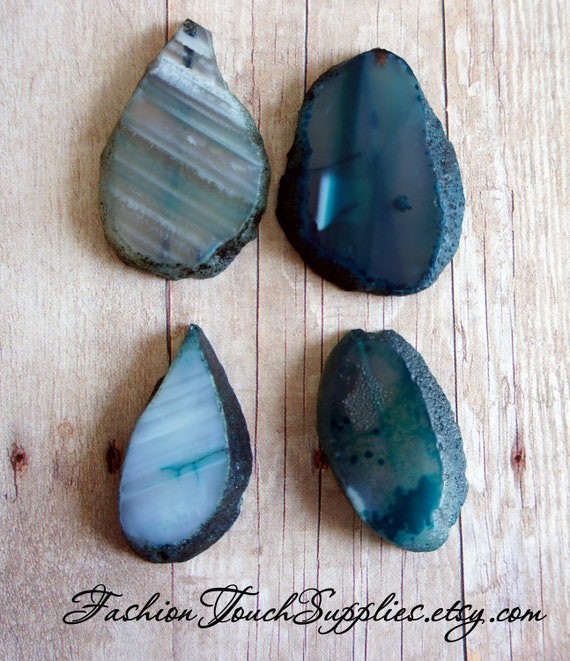 Bead, precious, gemstone, natural, stone, nugget Teal Blue Agate Oval Focal Pendant Beads -4