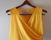 V i N T A G E Sunflower Yellow RUCHING wrap CROP TOP