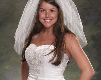 2 Layer Plain Cut Light Ivory Bridal Veil 26 Inch Blusher Veil 24 2 Tier Veils Shoulder Length Short Veils Ivory Veils Daimond White Veil