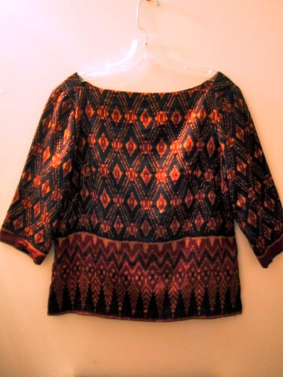Custom Made Silk Ikat Print Blouse Vintage Vivid Tribal Uzbek 1960's 1970's