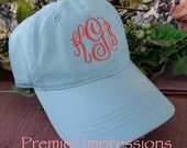Personalized Monogrammed Baseball Hats. 25 COLOR HATS AVAILABLE with your Initials.  Great running cap or knock-around cap.