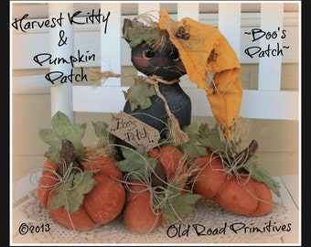 Primitive Halloween Pattern Boo's Patch Harvest Kitty and Pumpkin Patch ePattern