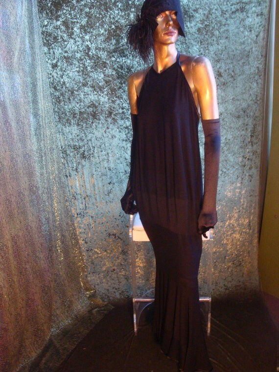 Black Halter Dress in Jersey / Lantern Sheath with a Fishtail-Flounced Edge, Tea Length