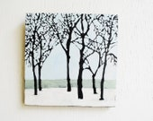 Winter Trees Landscape Painting.  6x6 Original Art.  Nature Symbols.  Home Decor.  Neutral.  Bare Branches.  Pale Blue.  Snow. - SorchaMoon