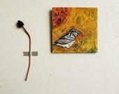 Sparrow Copper Sun - Original Art - 6x6 Folk Painting. Gold.