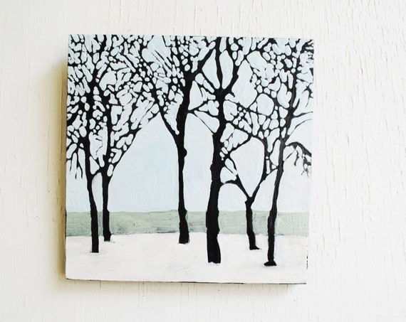Winter Trees Landscape Painting.   Pale Blue.  Snow.