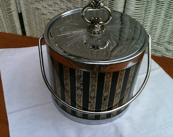Retro 50s Mod Ice Bucket Black,Gold Striped Pattern, Chrome look lid and trim