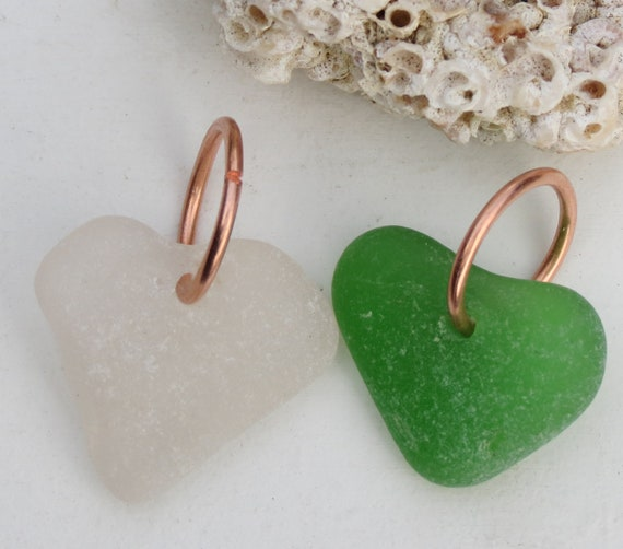 SeaGlass Heart Charm Beach Glass Charm Heart