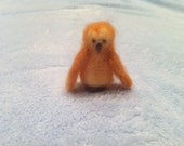 Tiny Needle Felted Owl, perfect Christmas or winter decoration (tan, ivory, gray)